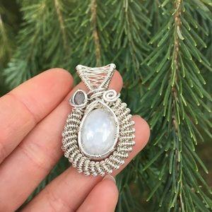 Moonstone Watermelon Tourmaline Silver Necklace